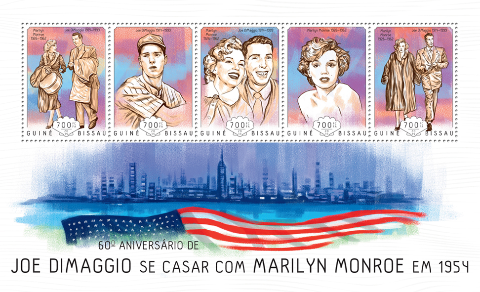 Joe DiMaggio marrying Marilyn Monroe - Issue of Guinée-Bissau postage stamps