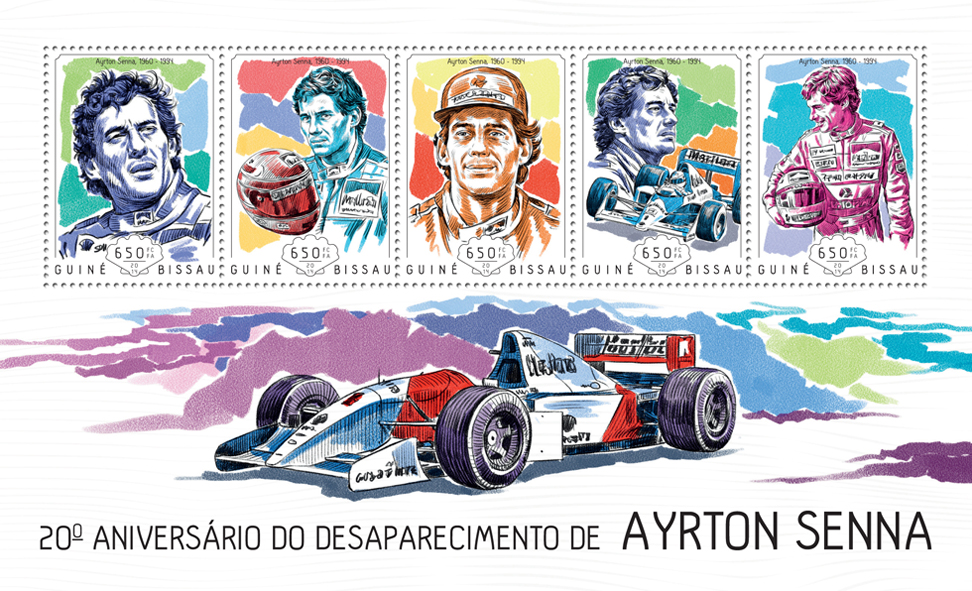 Ayrton Senna - Issue of Guinée-Bissau postage stamps
