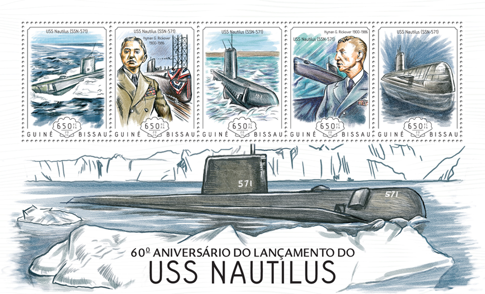 USS Nautilus - Issue of Guinée-Bissau postage stamps