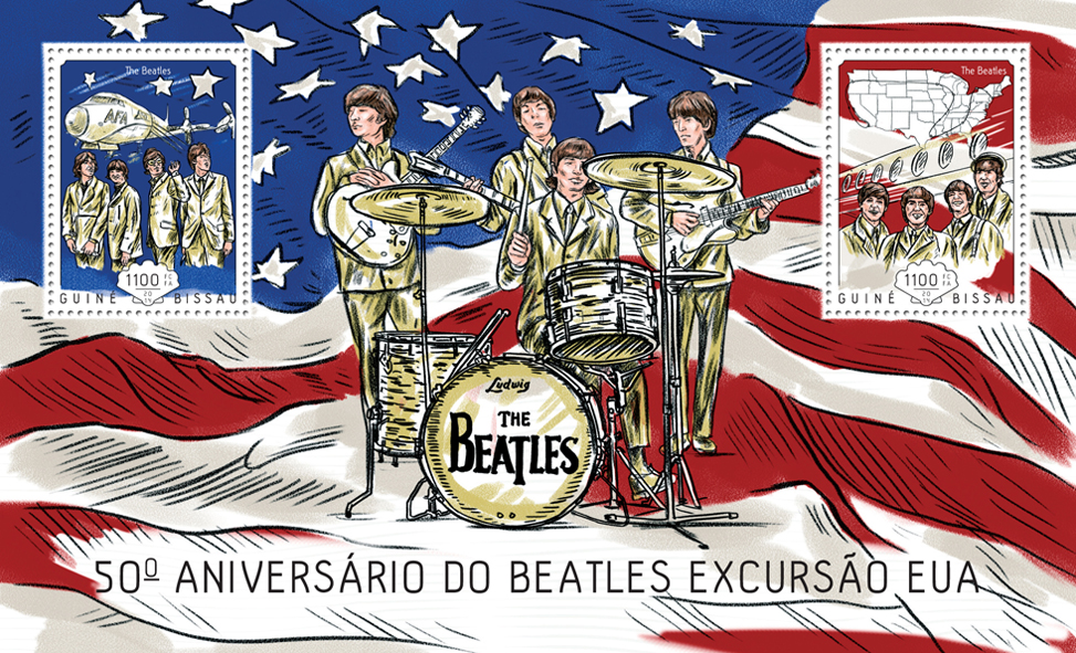 The Beatles USA Tour - Issue of Guinée-Bissau postage stamps