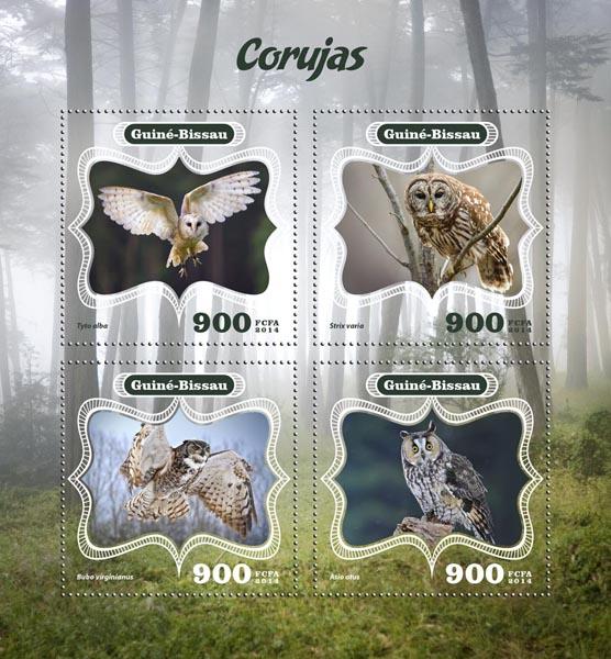Owls - Issue of Guinée-Bissau postage stamps