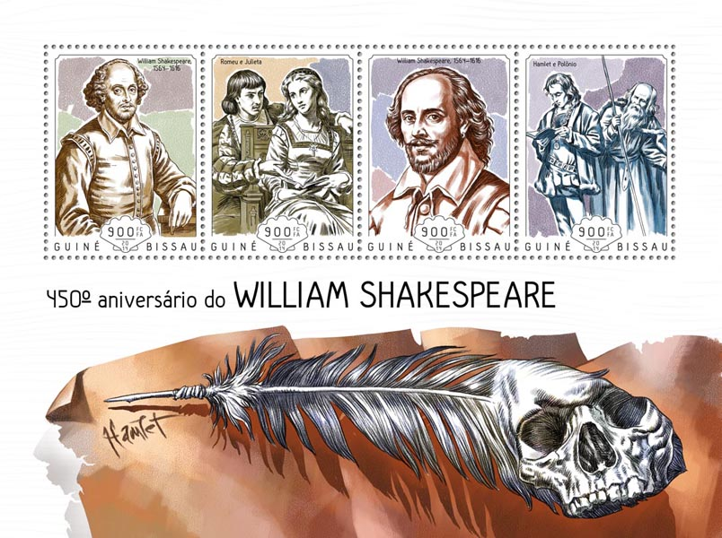 William Shakespeare - Issue of Guinée-Bissau postage stamps