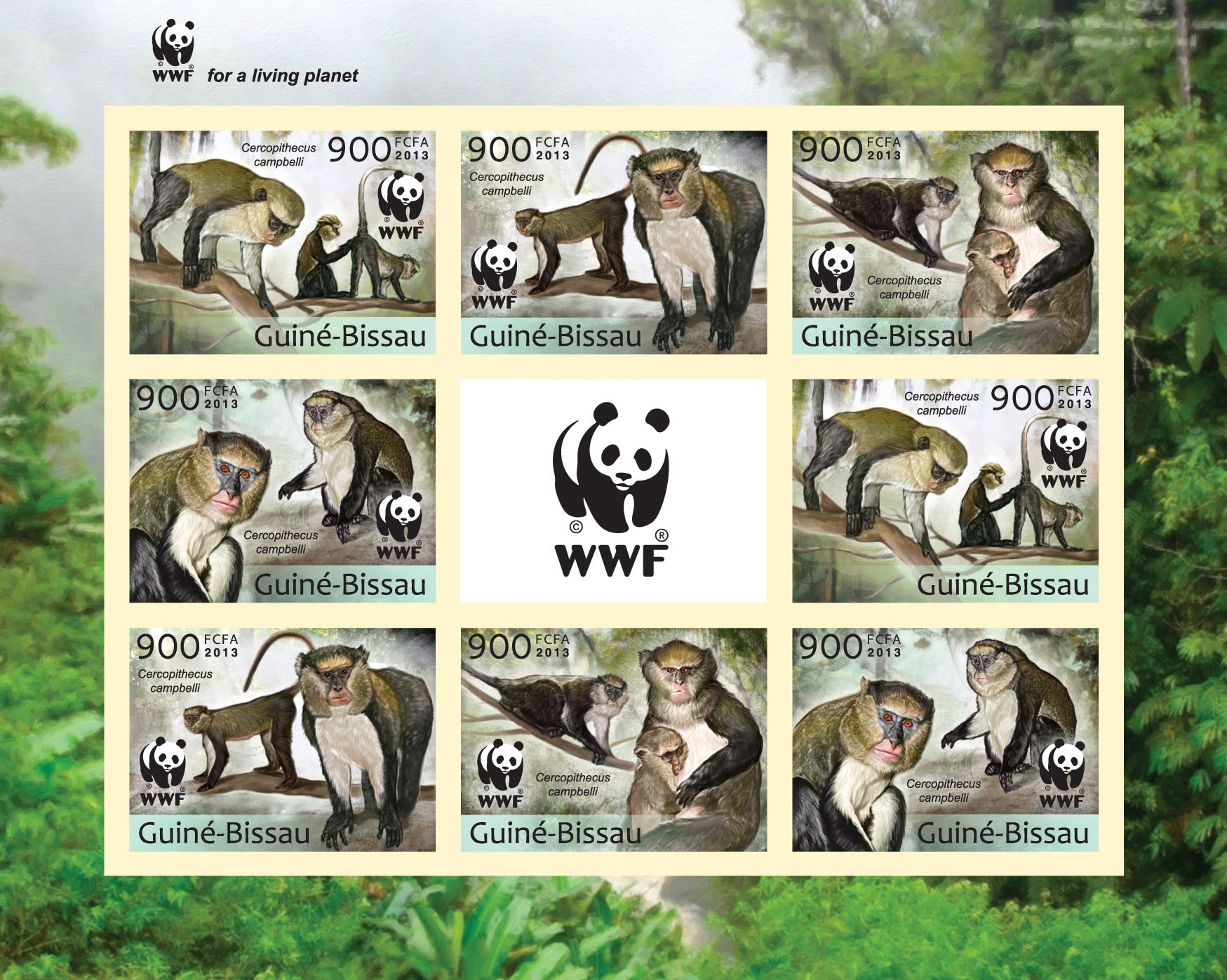 WWF - Monkeys (Cercopithecus campgelli) Sheet of 2 sets - Imperforated - Issue of Guinée-Bissau postage stamps