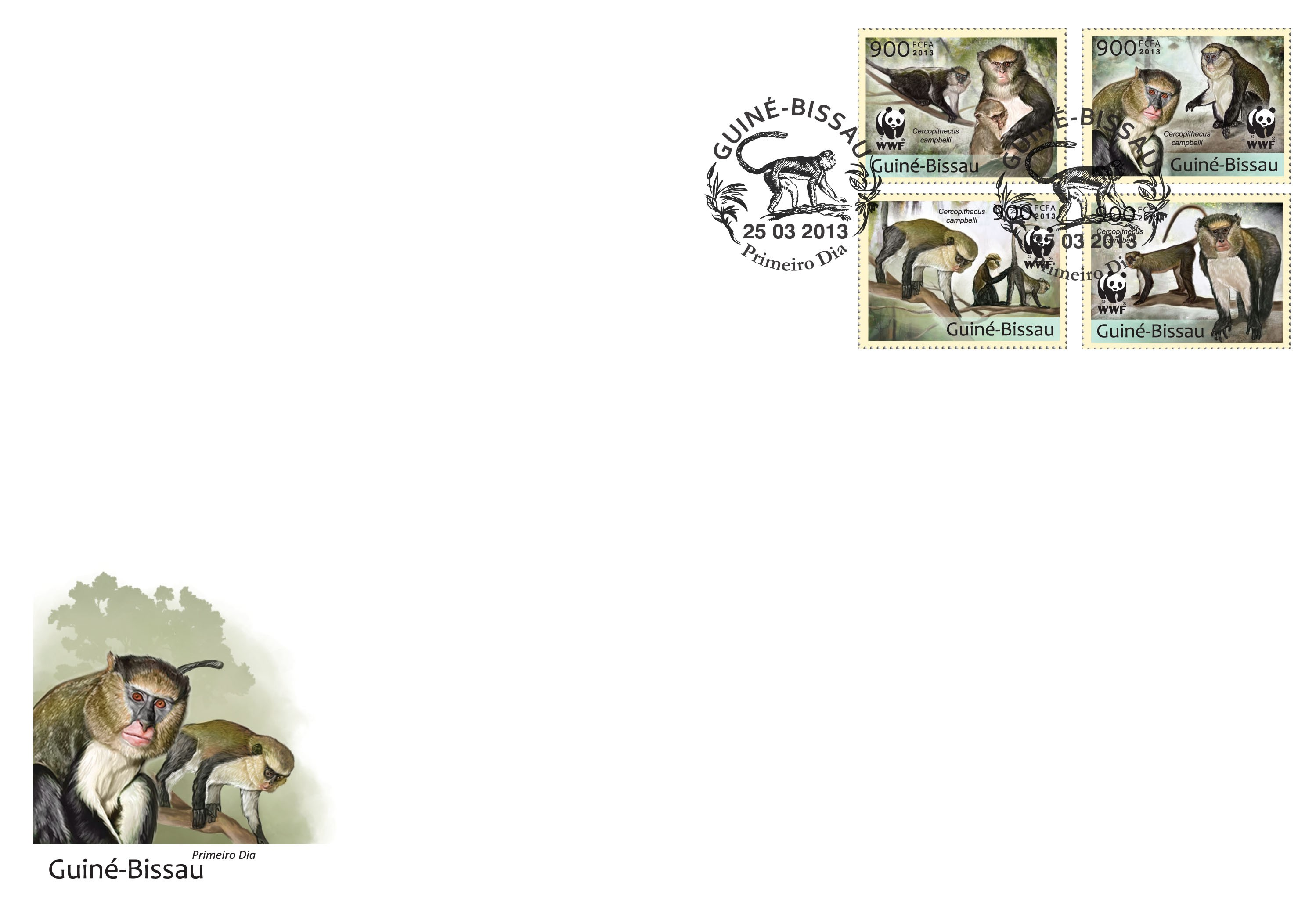 WWF - Monkeys (Cercopithecus campgelli) Set of 4 values - FDC - Issue of Guinée-Bissau postage stamps