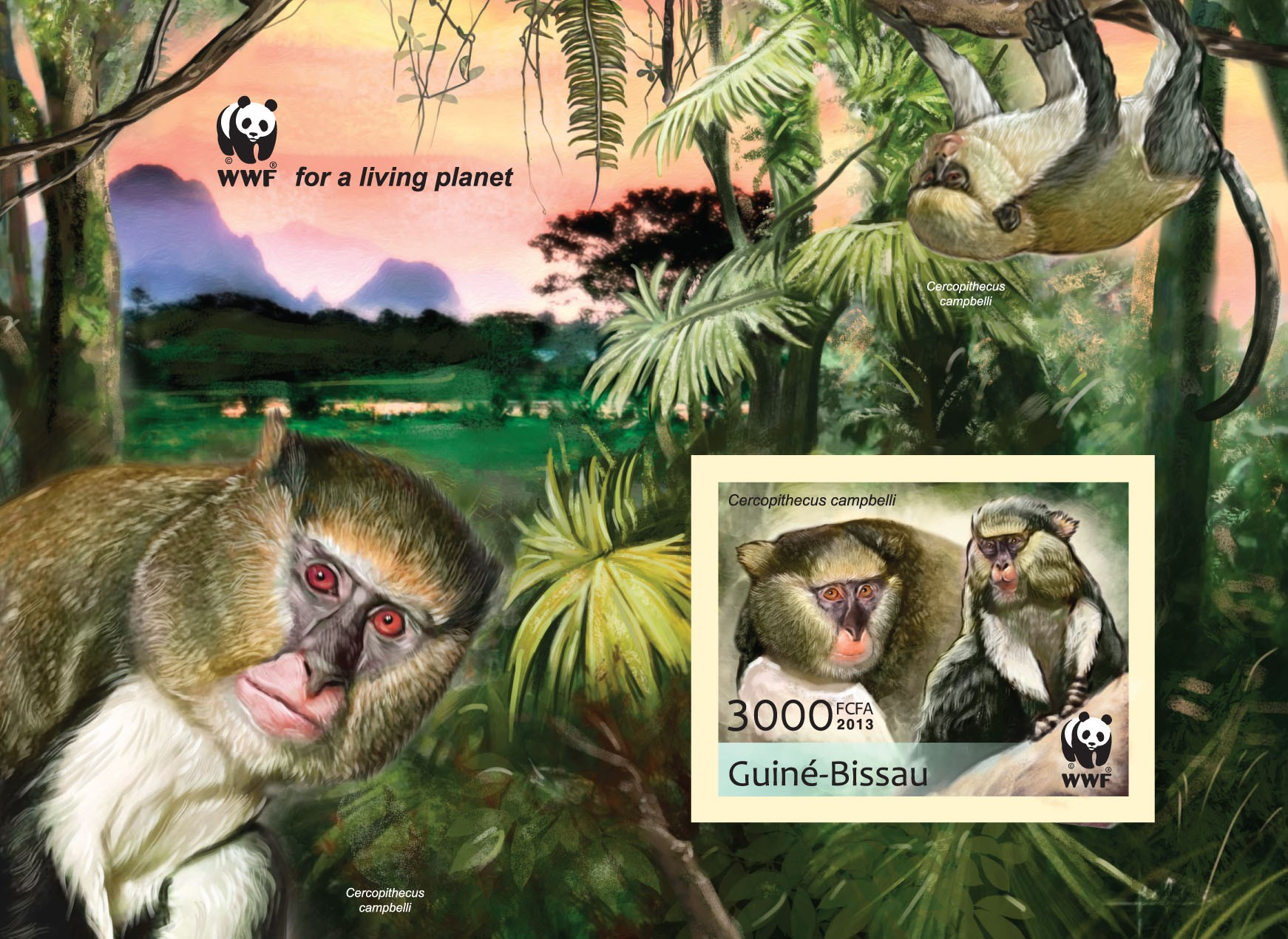 WWF - Monkeys (Cercopithecus campgelli) Souvenir sheet - Imperforated - Issue of Guinée-Bissau postage stamps
