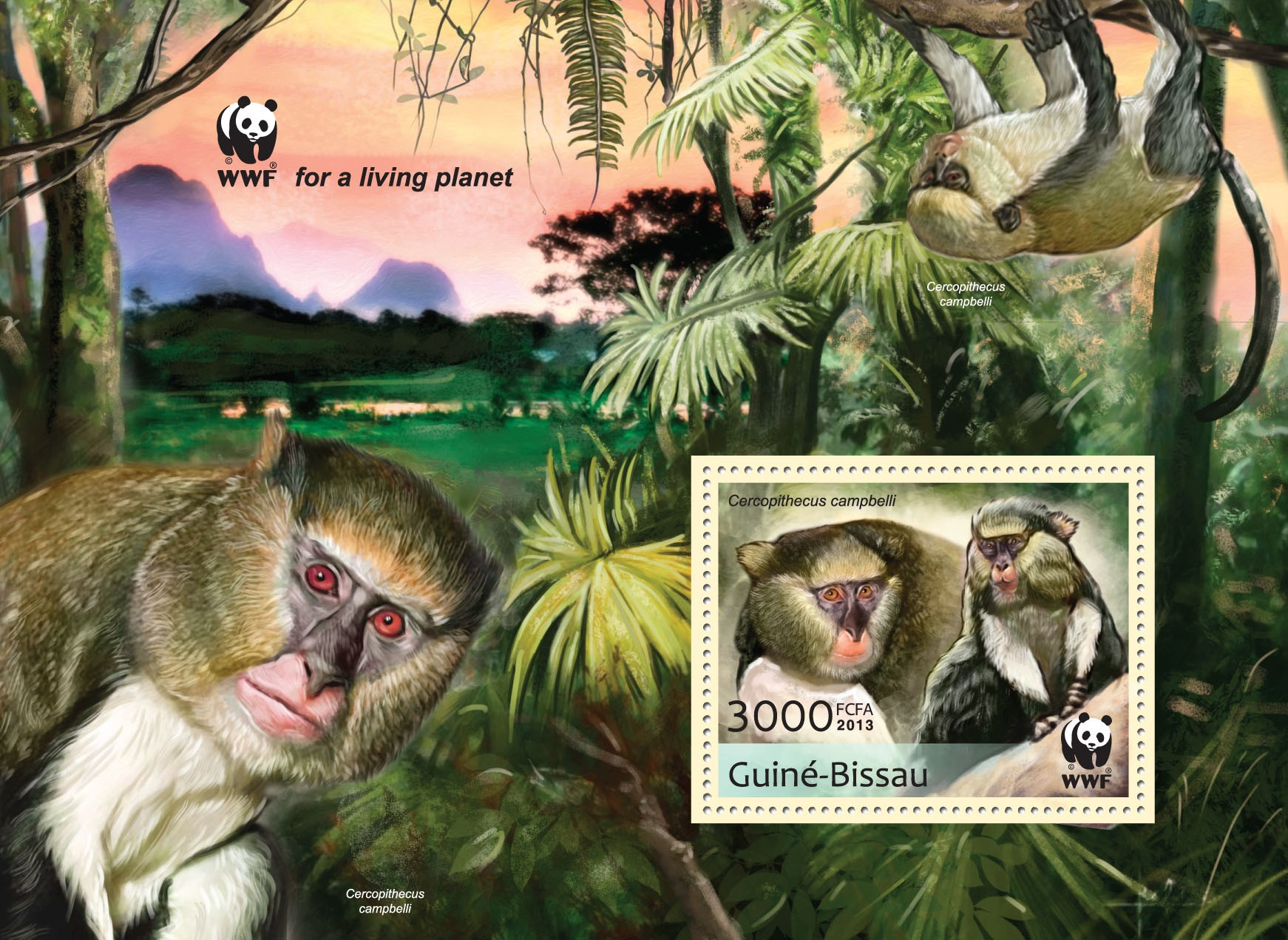 WWF - Monkeys (Cercopithecus campgelli) Souvenir sheet -  Perforated - Issue of Guinée-Bissau postage stamps