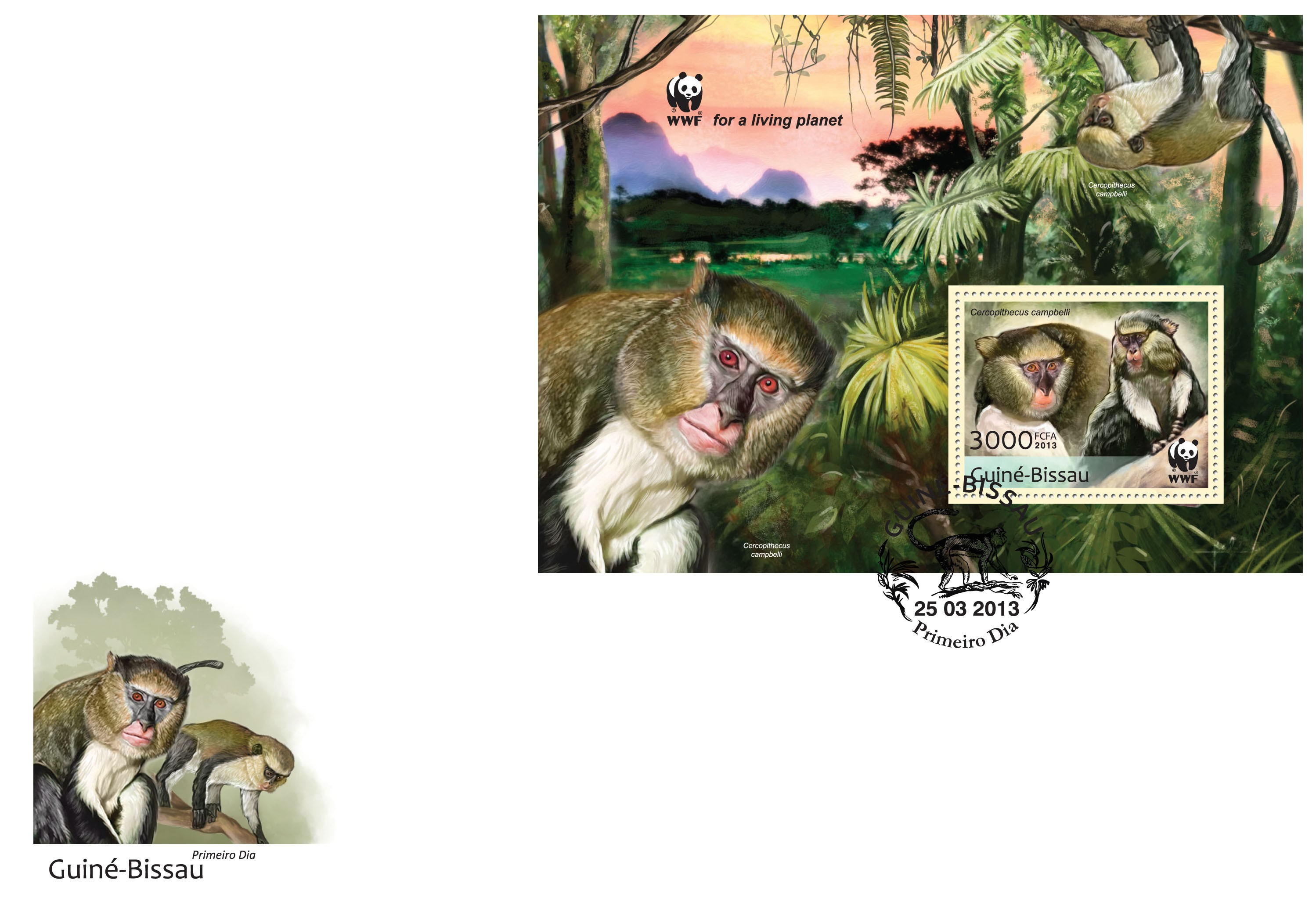 WWF - Monkeys (Cercopithecus campgelli) Souvenir sheet - FDC - Issue of Guinée-Bissau postage stamps