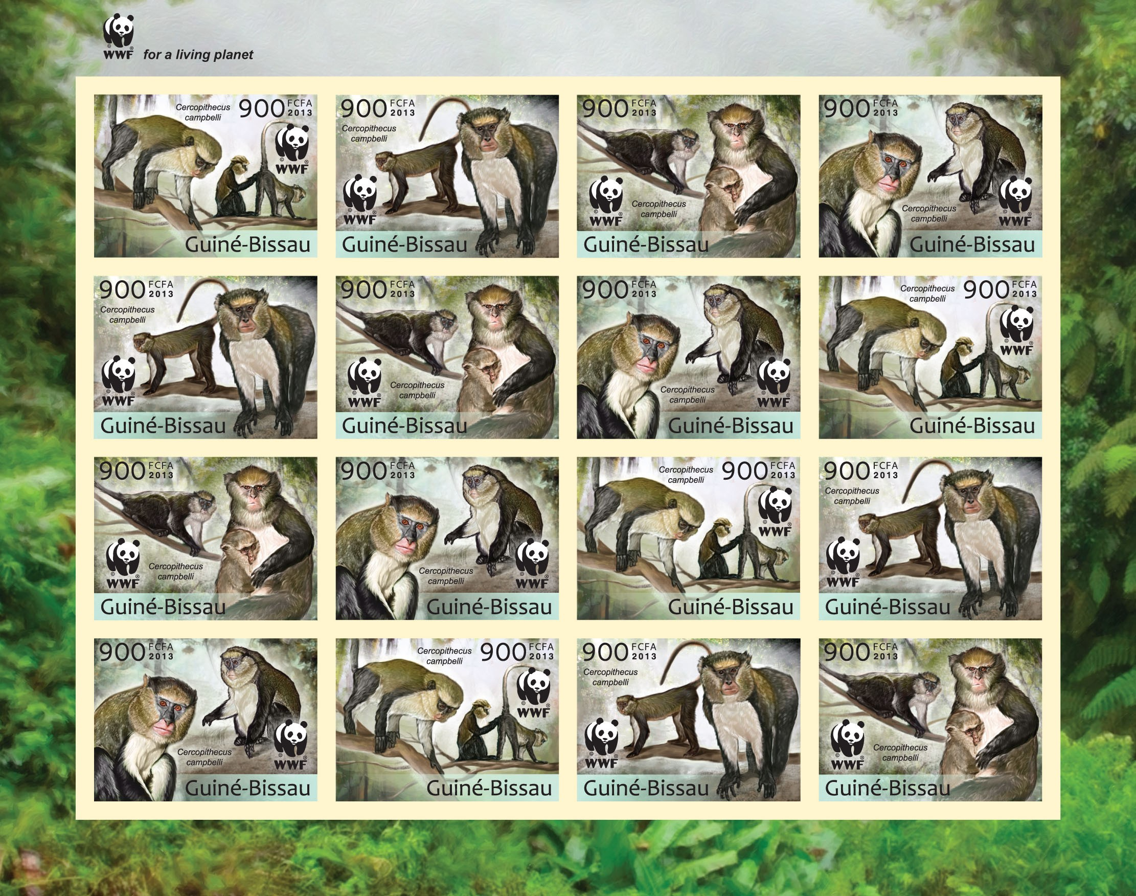 WWF - Monkeys (Cercopithecus campgelli) Sheet of 4 sets - Imperforated - Issue of Guinée-Bissau postage stamps