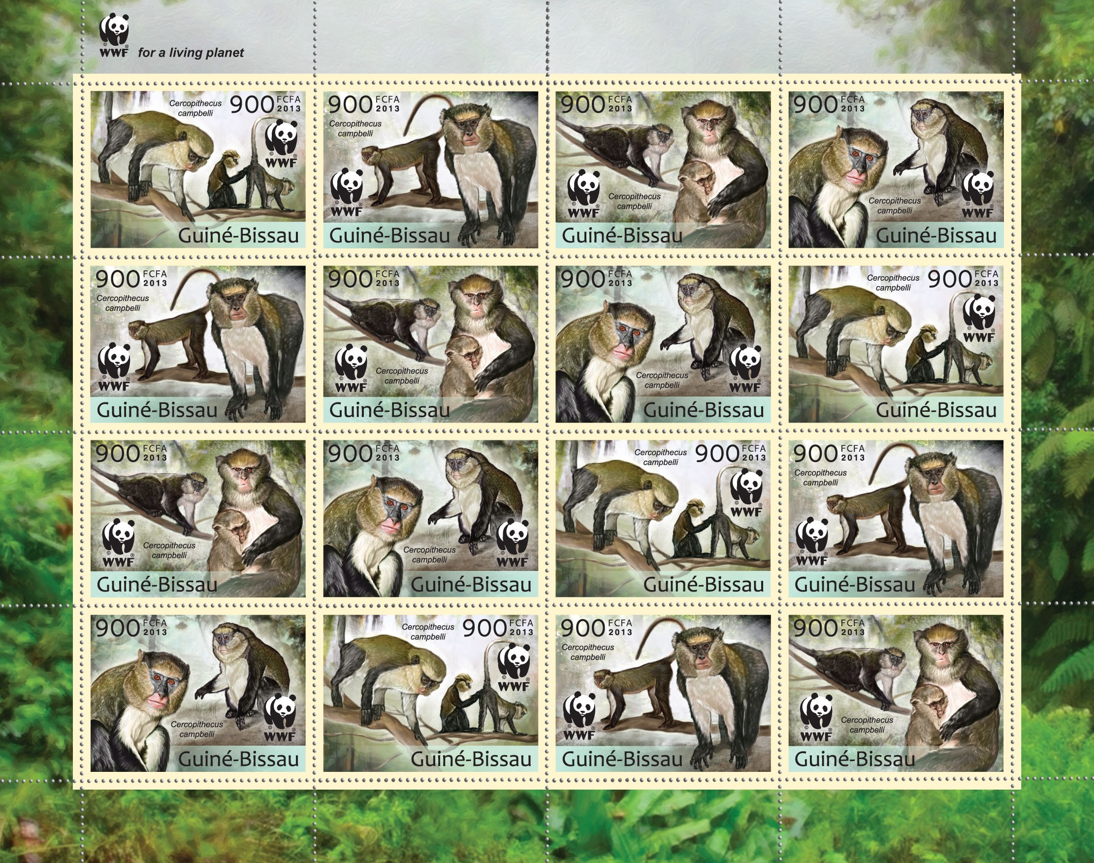 WWF - Monkeys (Cercopithecus campgelli) Sheet of 4 sets - Perforated - Issue of Guinée-Bissau postage stamps