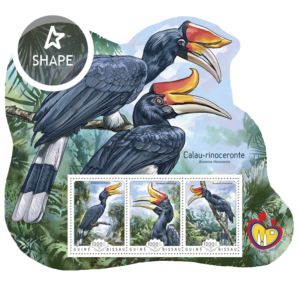 Rhinoceros Hornbill - Issue of Guinée-Bissau postage stamps