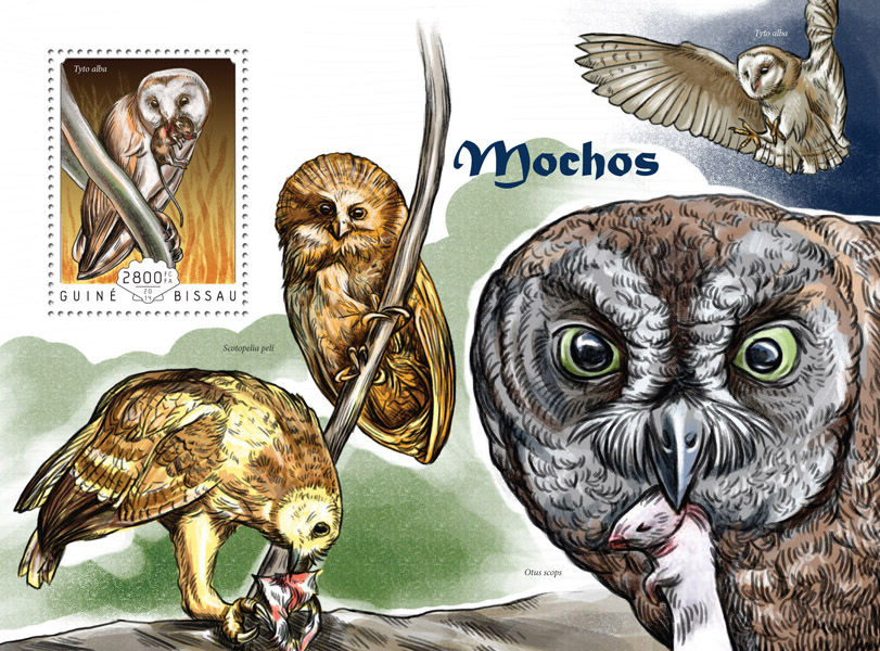 Owls - Issue of Guinée-Bissau postage stamps