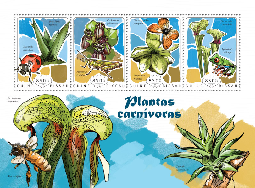 Carnivorous plants - Issue of Guinée-Bissau postage stamps