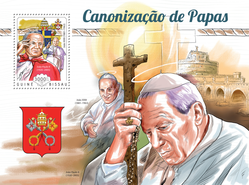 The canonisation of Popes - Issue of Guinée-Bissau postage stamps