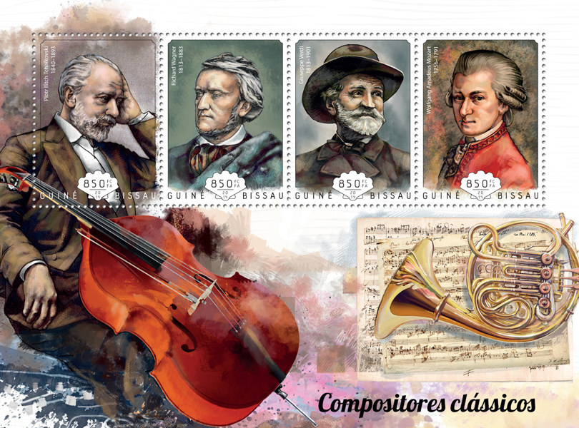 Classic composers - Issue of Guinée-Bissau postage stamps