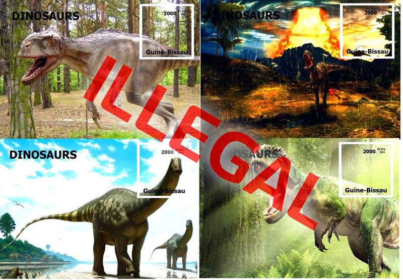 Illegal stamp of Guinea-Bissau. Dinosaurs 2014