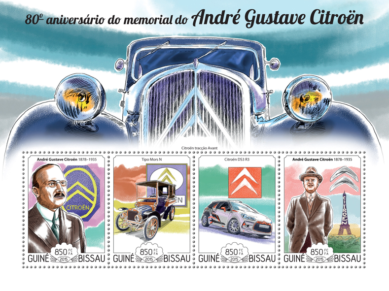 André-Gustave Citroën - Issue of Guinée-Bissau postage stamps
