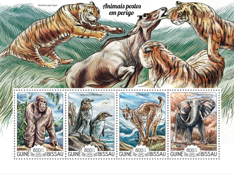 Endangered animals - Issue of Guinée-Bissau postage stamps