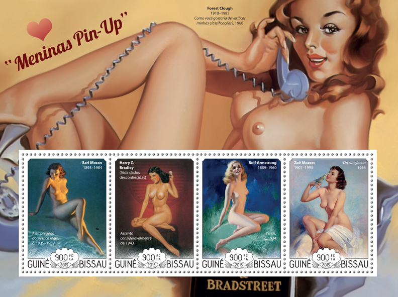 Pin up girls art - Issue of Guinée-Bissau postage stamps