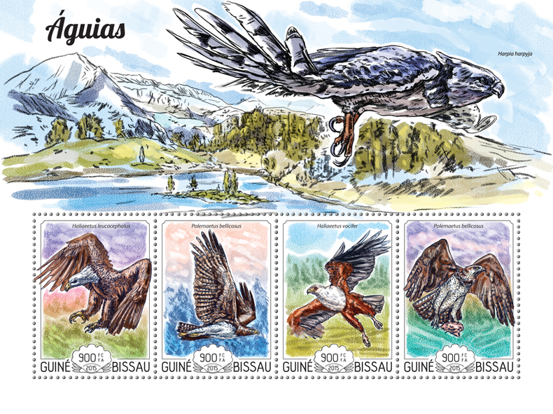 Eagles - Issue of Guinée-Bissau postage stamps