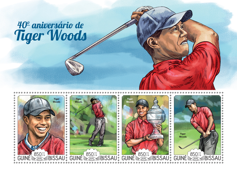 Tiger Woods - Issue of Guinée-Bissau postage stamps