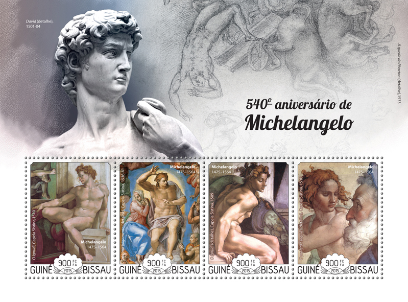 Michelangelo - Issue of Guinée-Bissau postage stamps