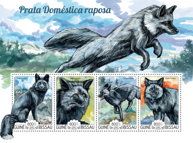 Domestic silver fox - Issue of Guinée-Bissau postage stamps