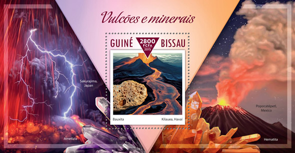Volcanoes, minerals  - Issue of Guinée-Bissau postage stamps