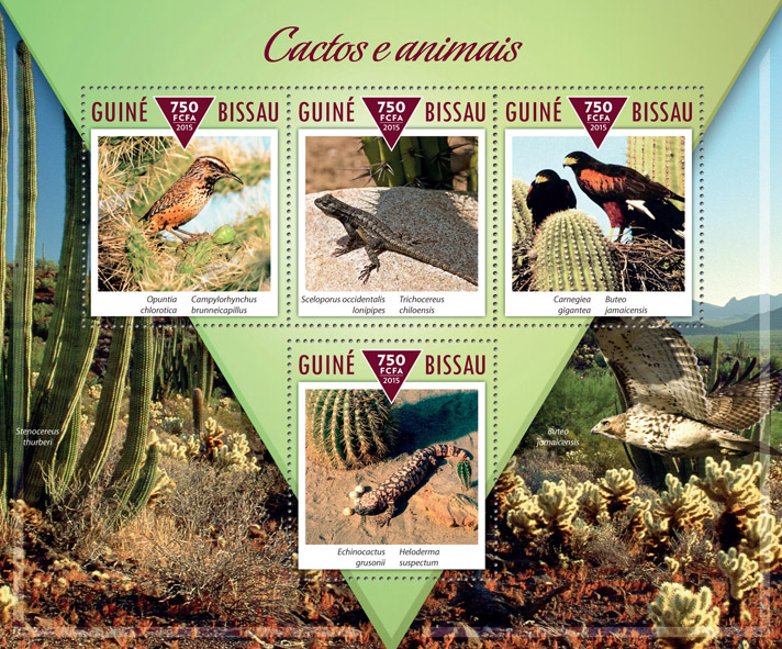 Cactuses and animals - Issue of Guinée-Bissau postage stamps