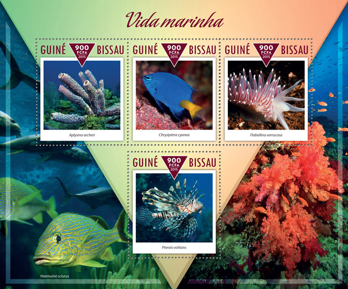 Marine life - Issue of Guinée-Bissau postage stamps