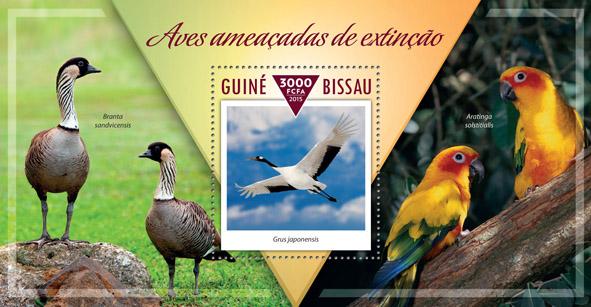 Endangered birds - Issue of Guinée-Bissau postage stamps
