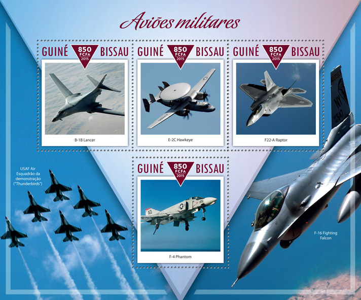 Military planes - Issue of Guinée-Bissau postage stamps