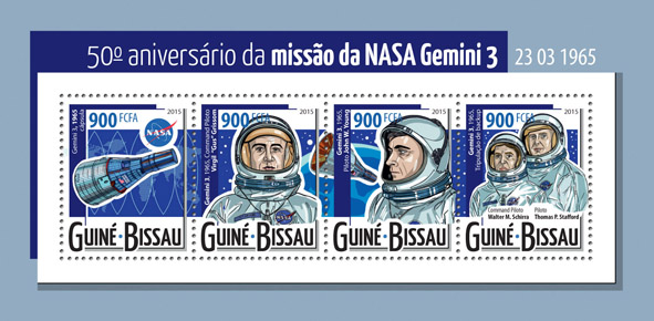 NASA's mission Gemini 3 - Issue of Guinée-Bissau postage stamps