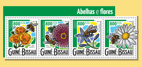 Bees and flowers - Issue of Guinée-Bissau postage stamps