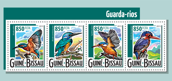 Kingfishers - Issue of Guinée-Bissau postage stamps