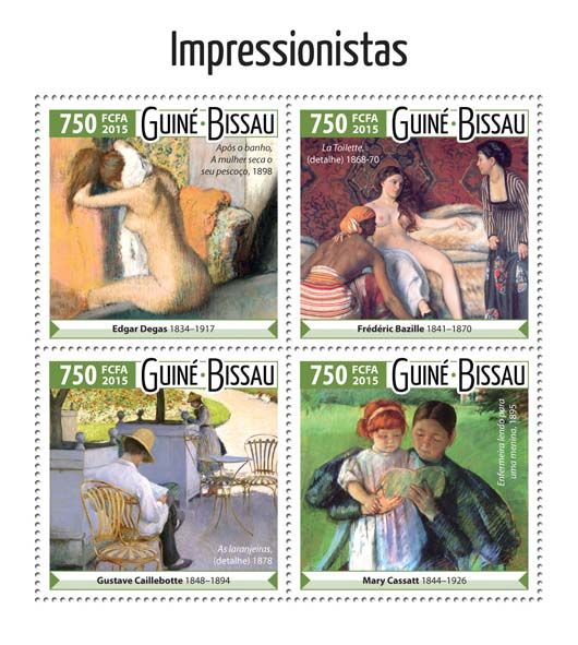 Impressionists - Issue of Guinée-Bissau postage stamps