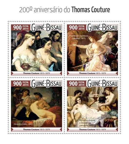 Thomas Couture  - Issue of Guinée-Bissau postage stamps