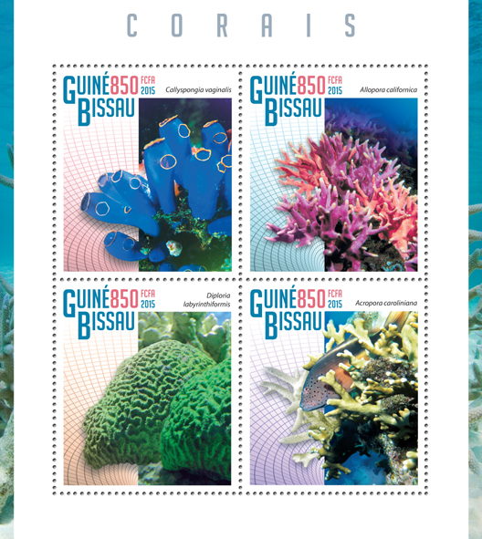 Corals - Issue of Guinée-Bissau postage stamps