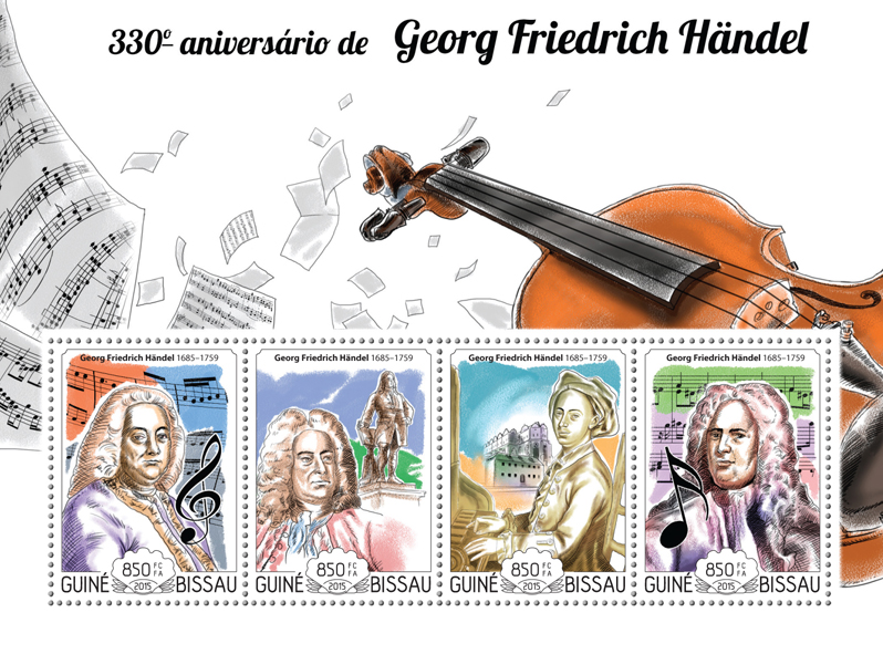 George Friedrich Handel - Issue of Guinée-Bissau postage stamps