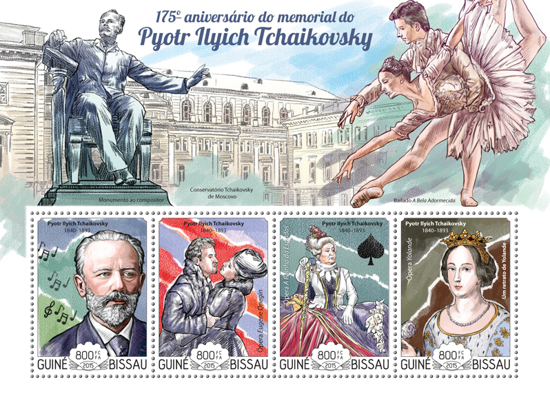 Pyotr Ilyich Tchaikovsky - Issue of Guinée-Bissau postage stamps