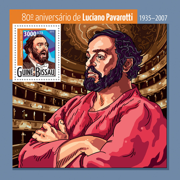 Luciano Pavarotti - Issue of Guinée-Bissau postage stamps