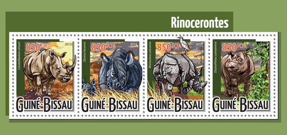 Rhinoceros - Issue of Guinée-Bissau postage stamps