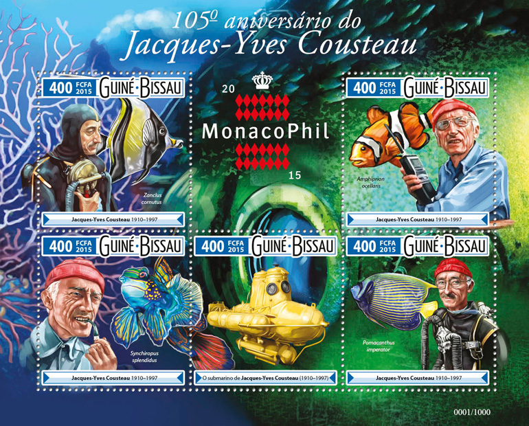 Jacques Yves Cousteau - Issue of Guinée-Bissau postage stamps