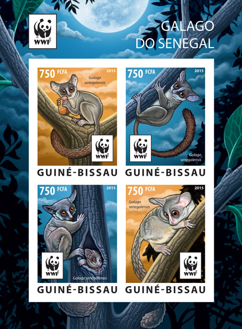 WWF – Galago (imperf. Set) - Issue of Guinée-Bissau postage stamps