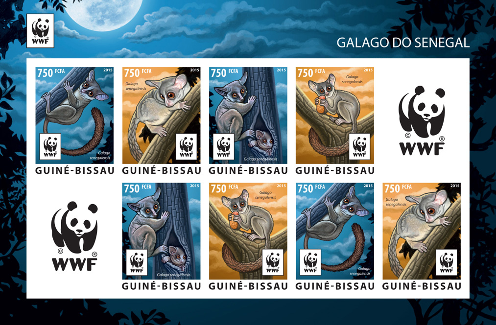 WWF – Galago (imperf. 2 sets) - Issue of Guinée-Bissau postage stamps