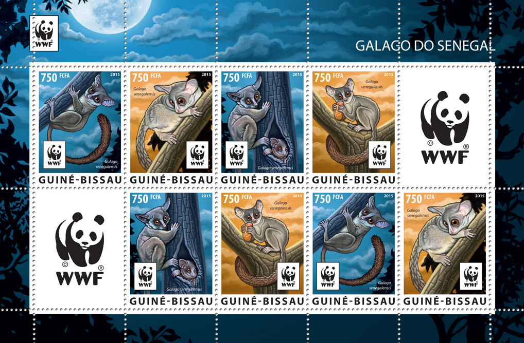WWF – Galago (2 sets) - Issue of Guinée-Bissau postage stamps