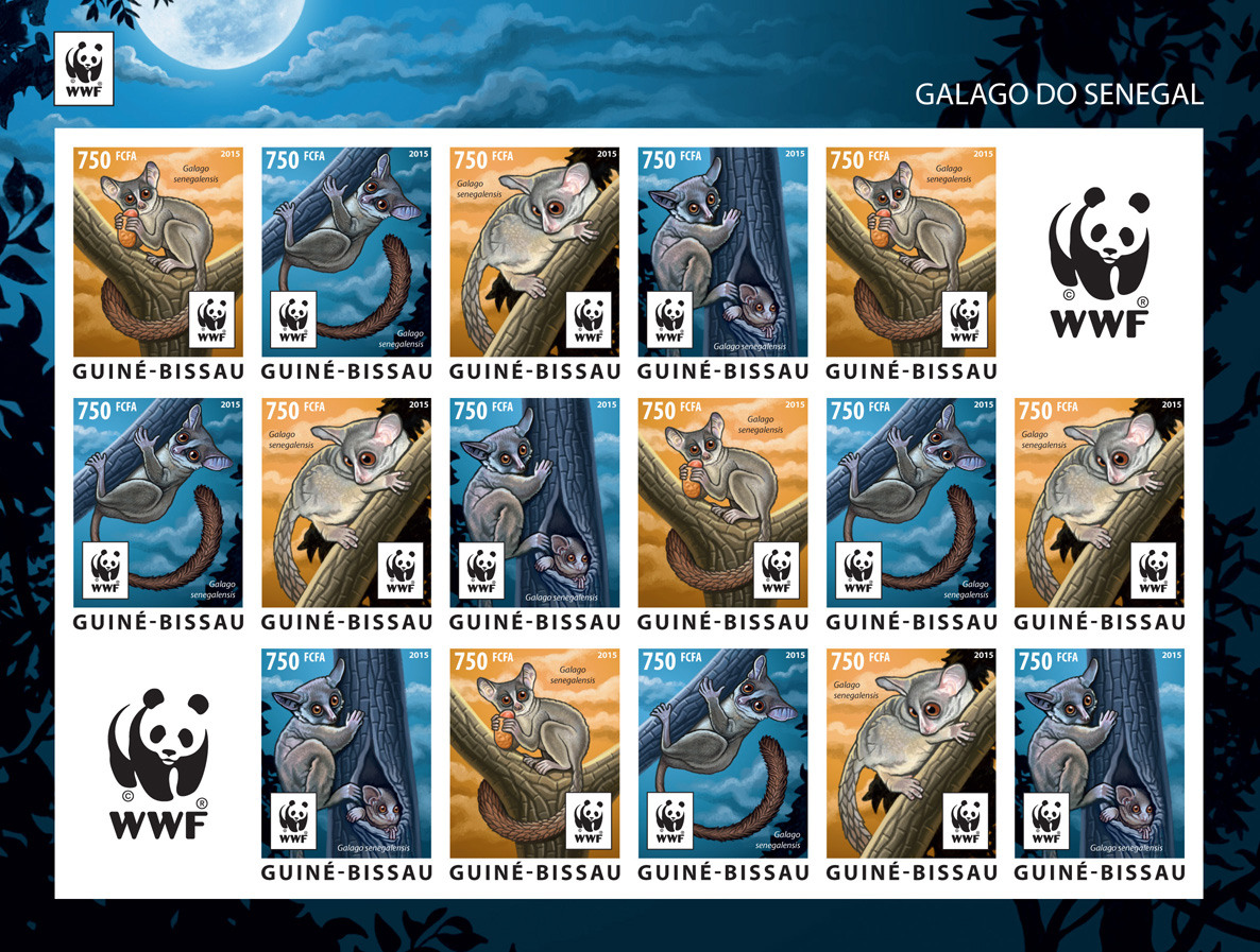 WWF – Galago (imperf. 4 sets) - Issue of Guinée-Bissau postage stamps