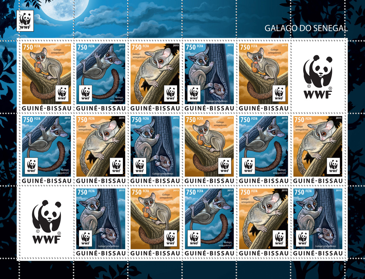 WWF – Galago (4 sets) - Issue of Guinée-Bissau postage stamps
