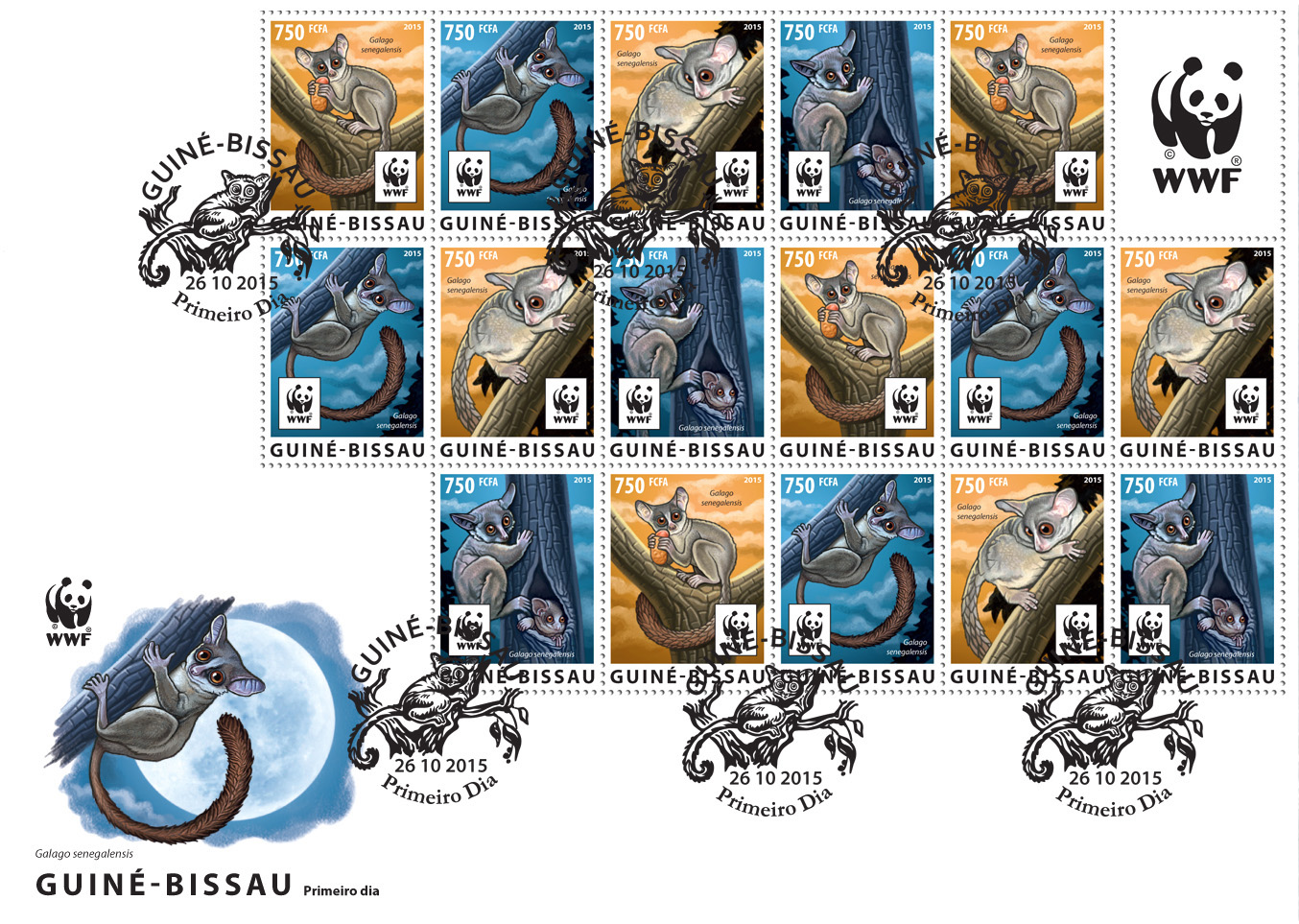 WWF – Galago (FDC) - Issue of Guinée-Bissau postage stamps