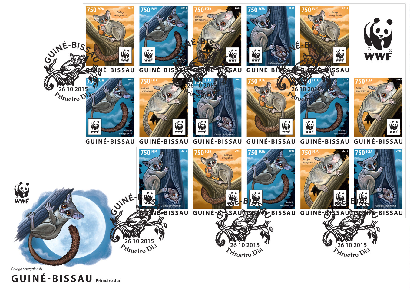WWF – Galago (FDC imperf.) - Issue of Guinée-Bissau postage stamps