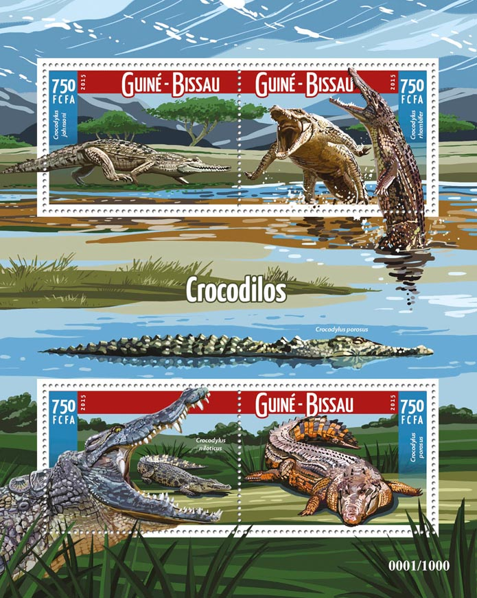 Crocodiles - Issue of Guinée-Bissau postage stamps